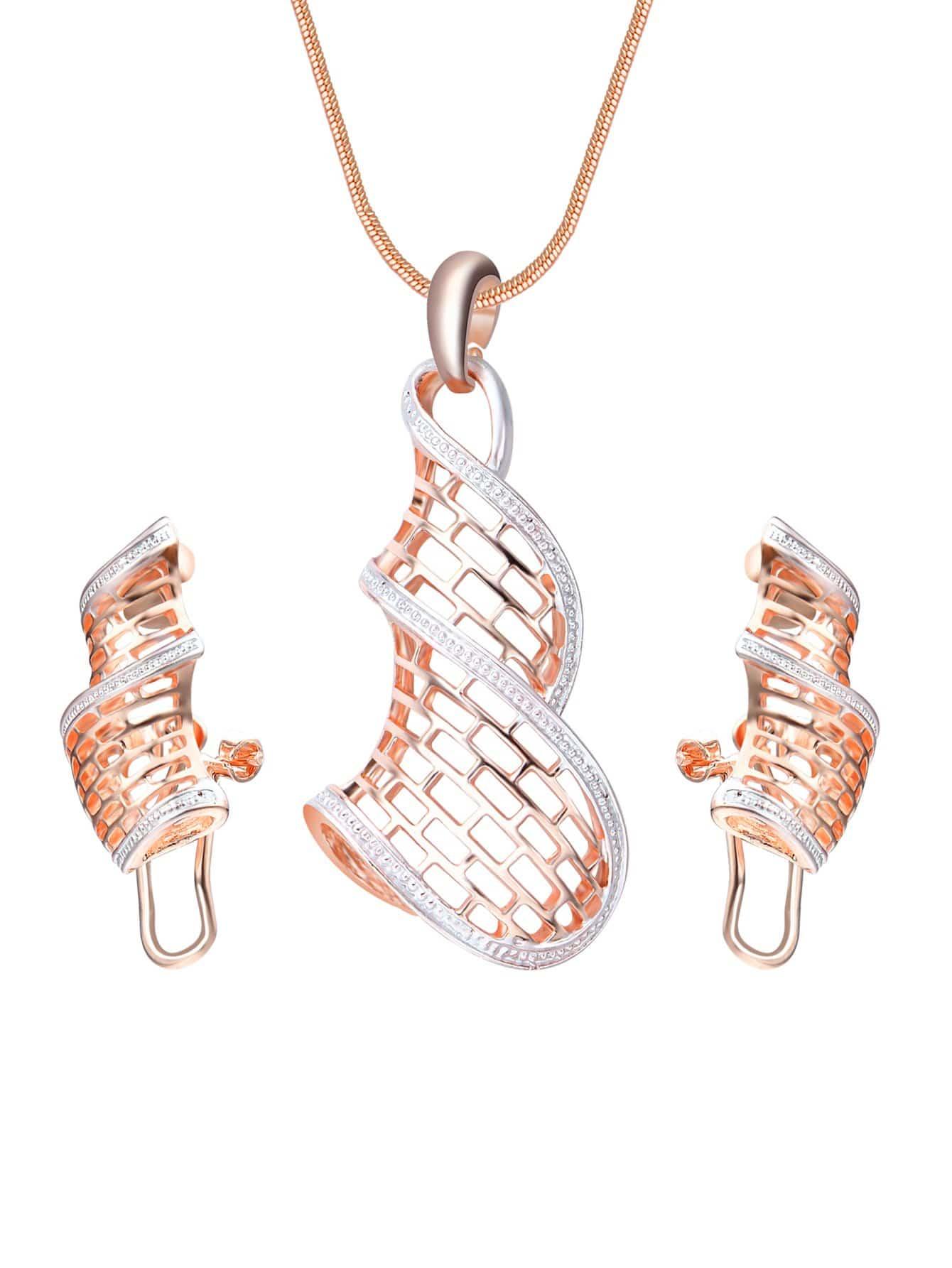 Spiral Anhänger Halskette & Ohrringe Set