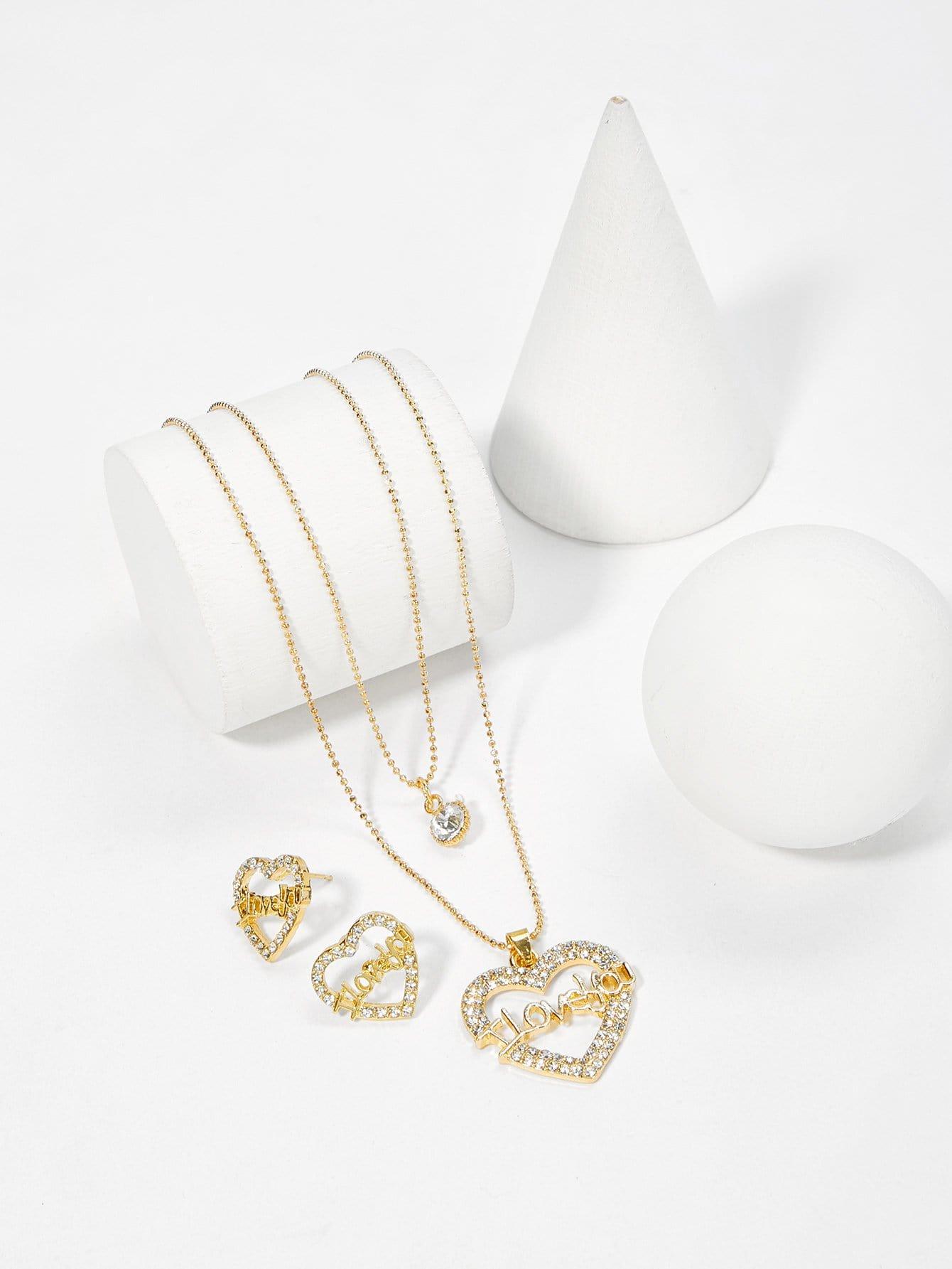 Herz Anhänger Geschichtete Halskette & Ohrringe