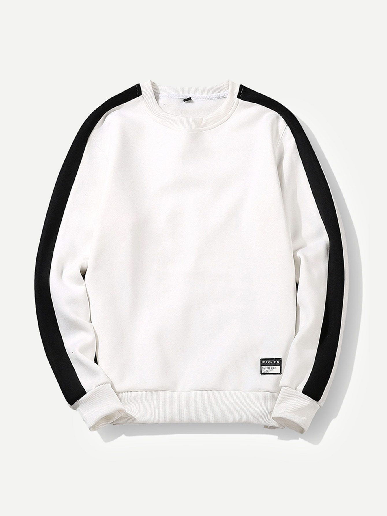 Купить Контрастный цвет Белый Мужские толстовки, null, SheIn