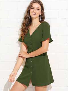 Ruffle Cuff Button Dress