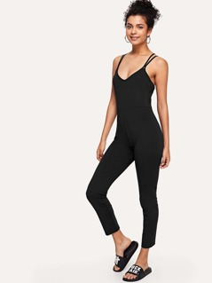 Double Strap Crisscross Back Form Fitting Jumpsuit
