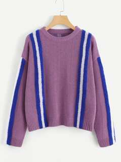 Contrast Faux Fur Panel Sweater
