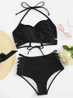 Lace Up Halter Top With Ladder Cut Out High Waist Bikini