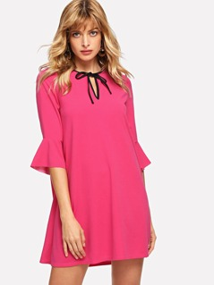 Tie Neck Bell Sleeve Dress