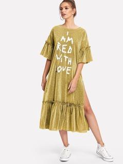 Slit Ruffle Hem Glitter Dress