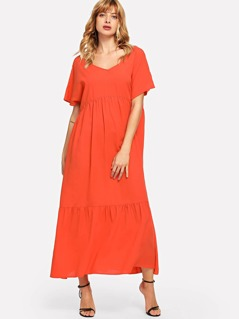 Neon Orange V-Neck Tunic Solid Dress