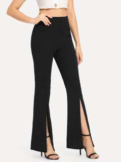 Split Solid Flare Pants