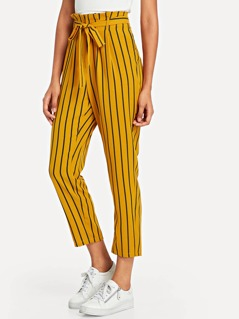 Waist Belted Striped Pants