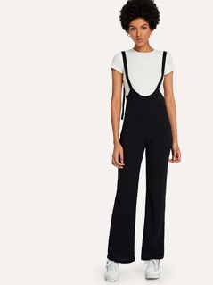 Wide Leg Solid Pinafore Pants