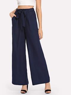 Slant Pocket Belted Wide Leg Pants