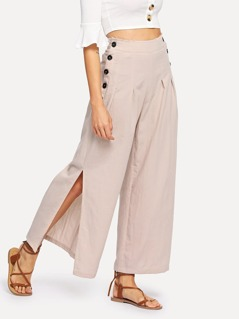Double Button Pleated Split Wide Leg Pants
