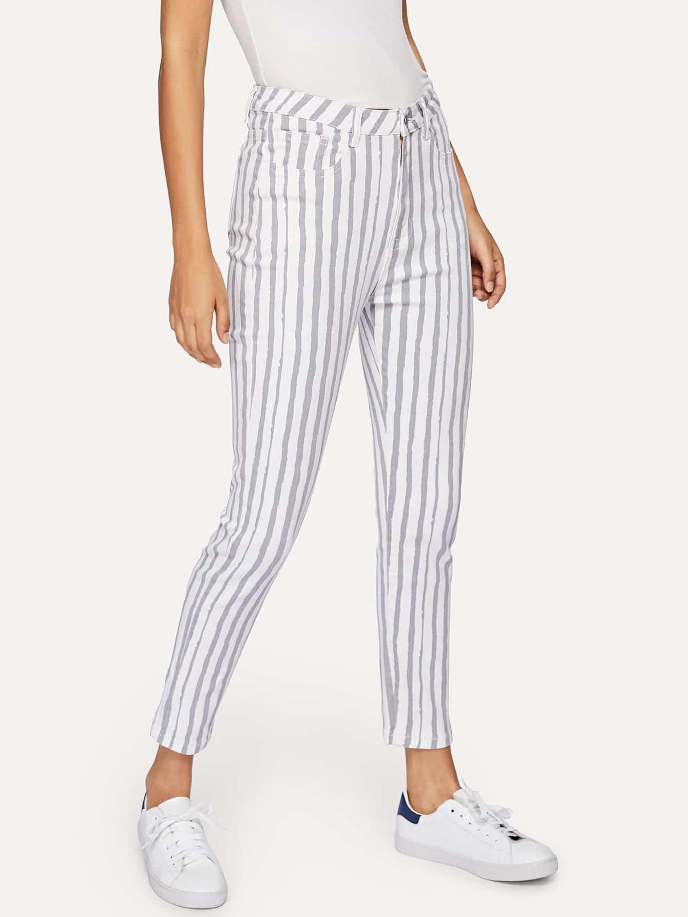 Купить Полосатые тощие джинсы, Starl Lane, SheIn