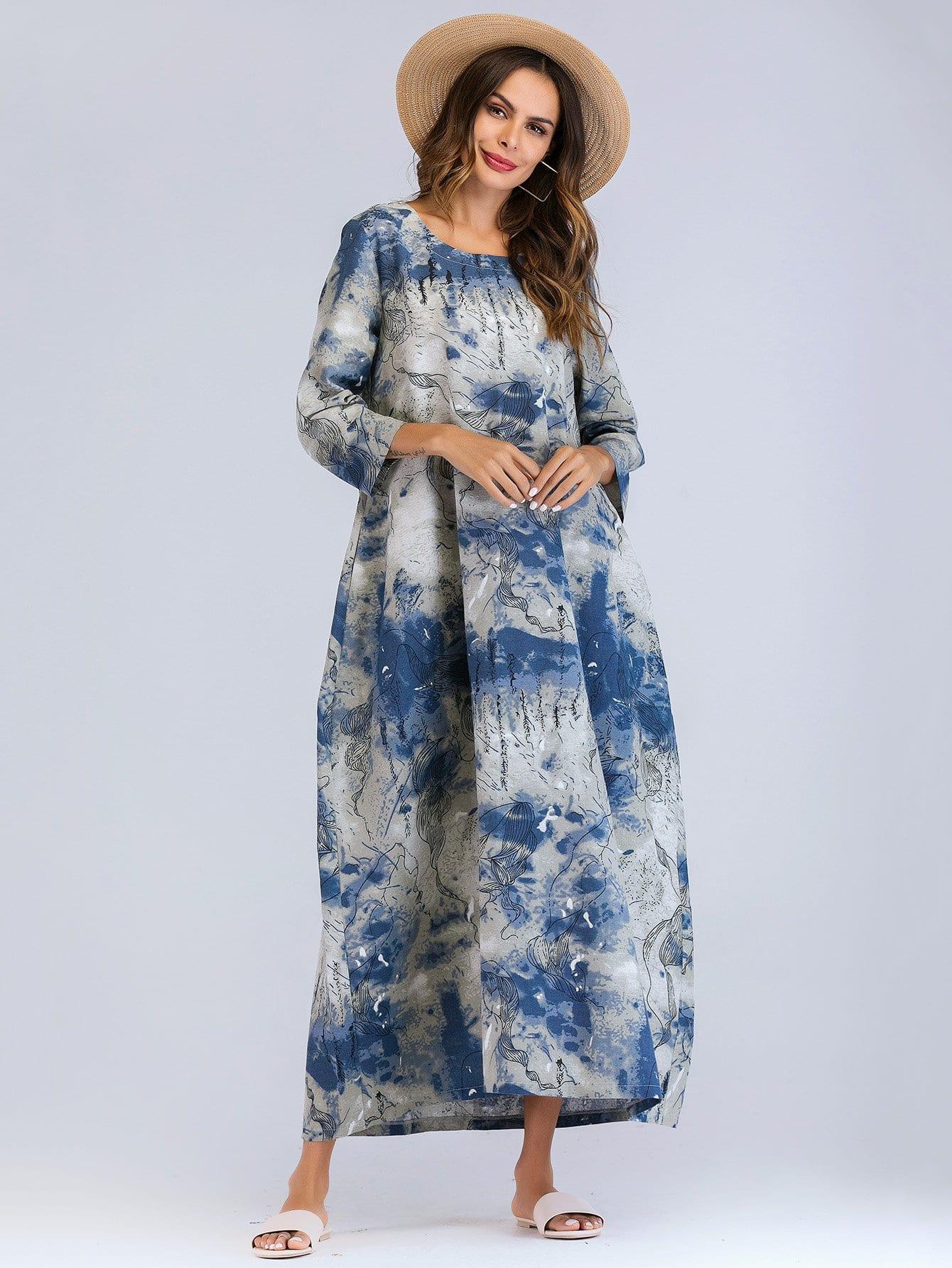 Купить Длинное платье с рисунками Ink, null, SheIn