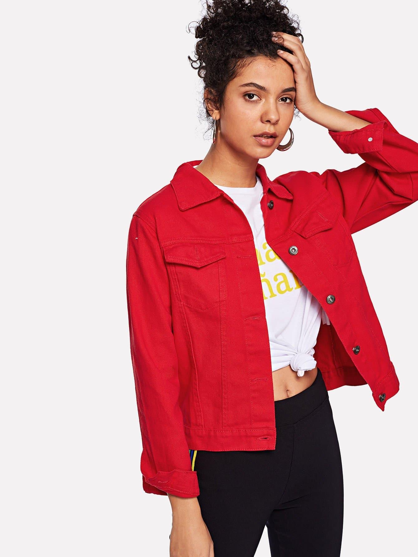 Купить Простая джинсовая куртка и с украшением пуговицы перед одежды, Starl Lane, SheIn