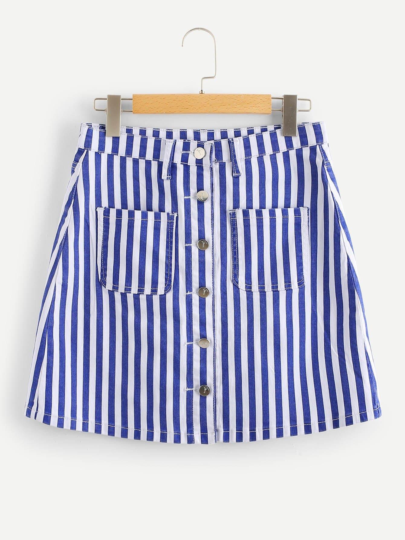 Купить Однобортная джинсовая юбка с украшением двух кармана, null, SheIn