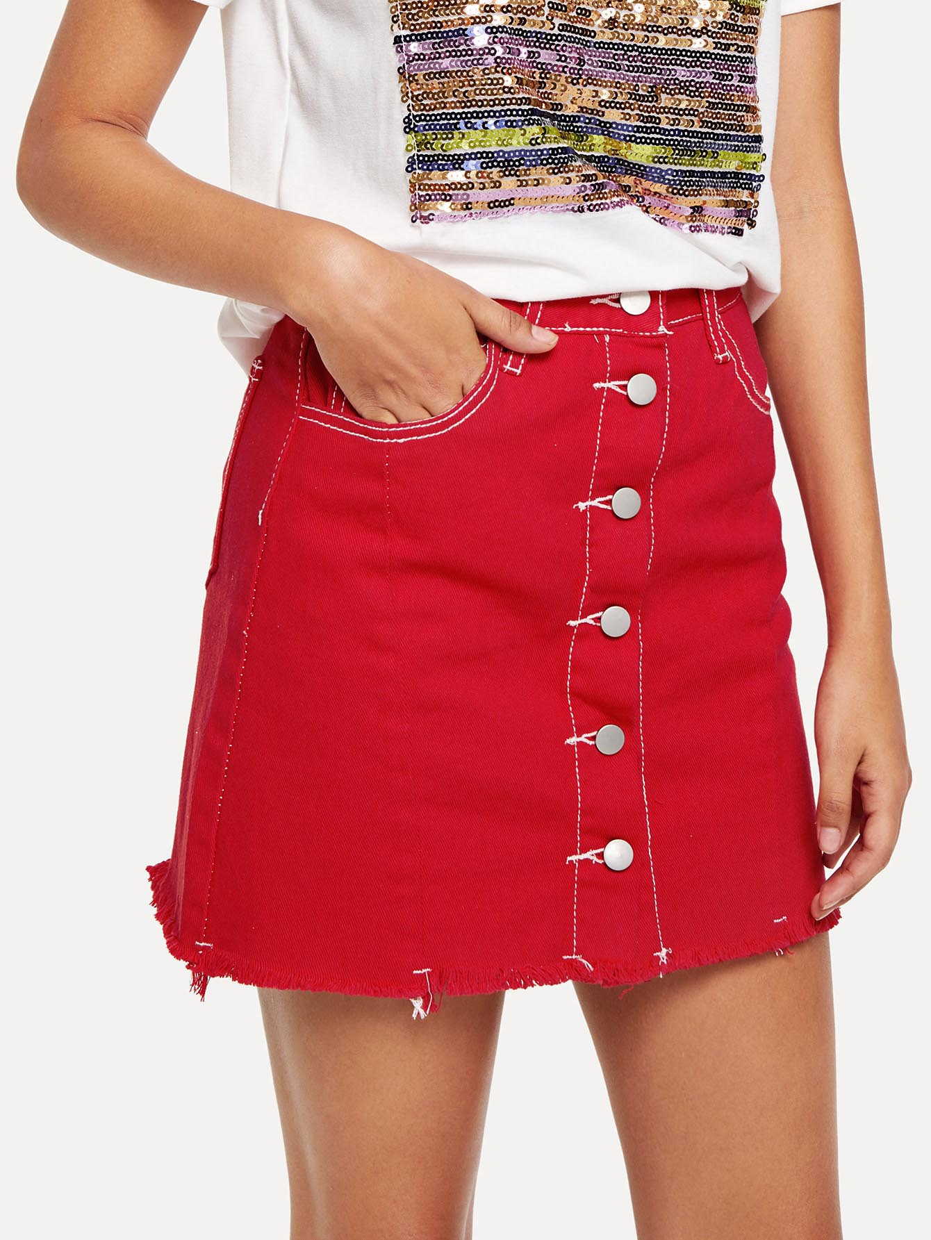 Raw Hem Button Front Denim Skirt