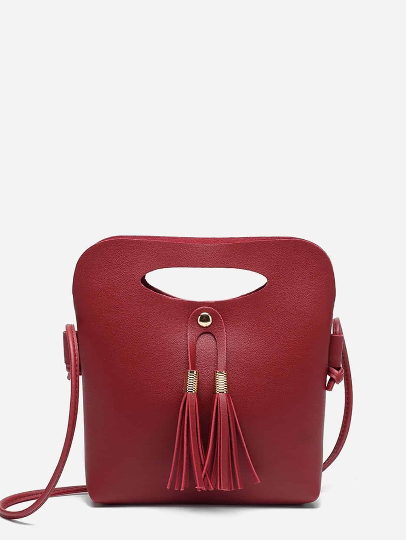 где купить Tassel Decor Shoulder Bag дешево