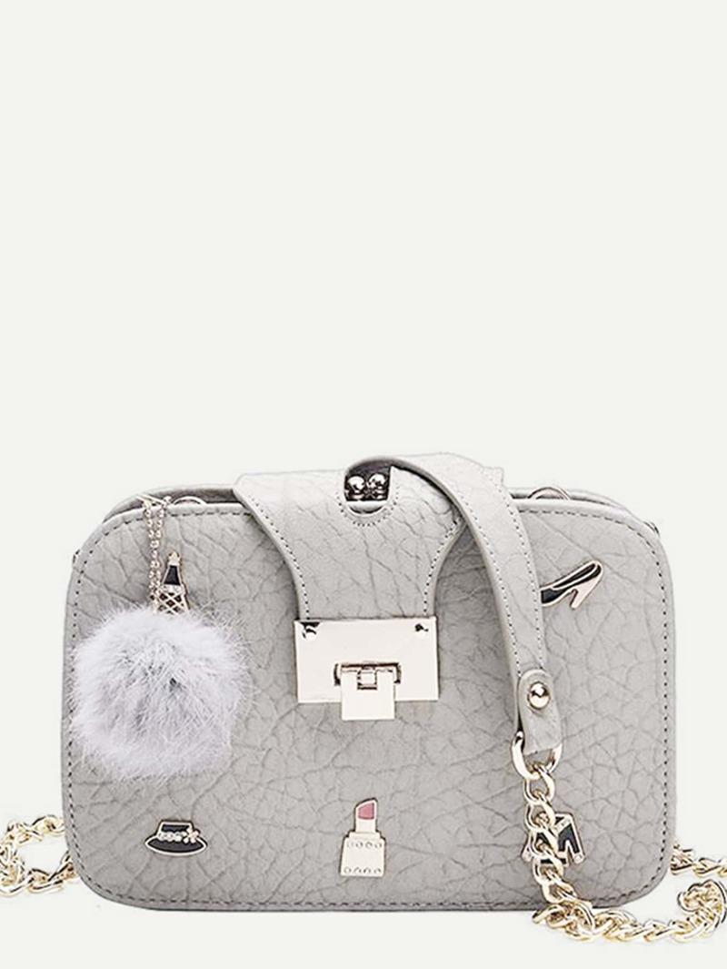 Pom Pom Decor Chain Bag, Grey