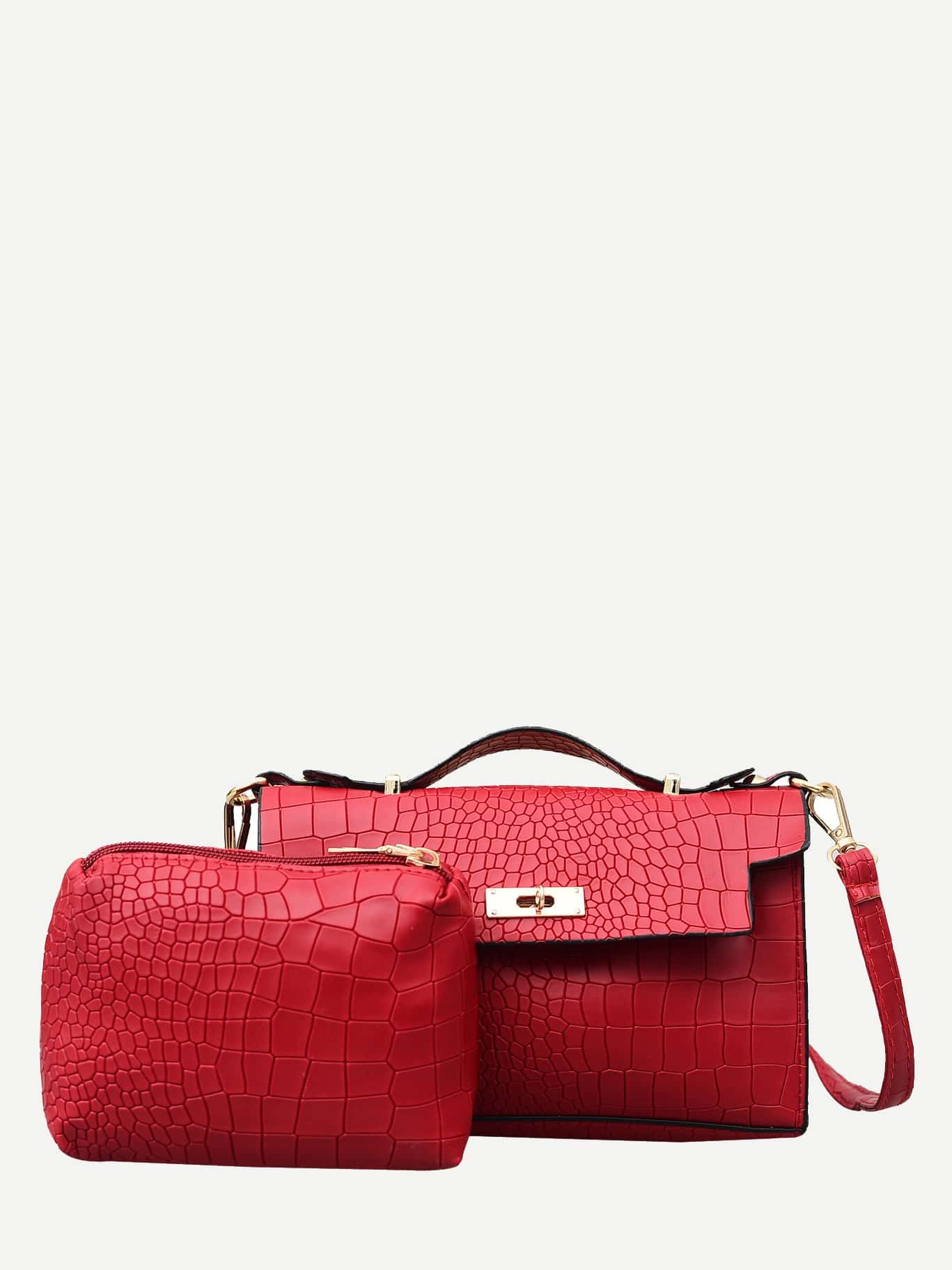 Twist Lock Crocodile Embossed Satchel Bag