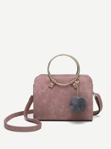 Pom Pom Detail Ring Handle Crossbody Bag