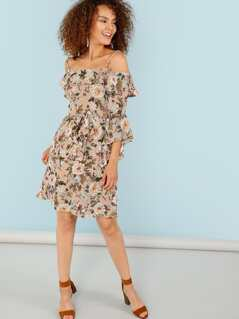 Floral Print Cold Shoulder Bell Sleeve Dress