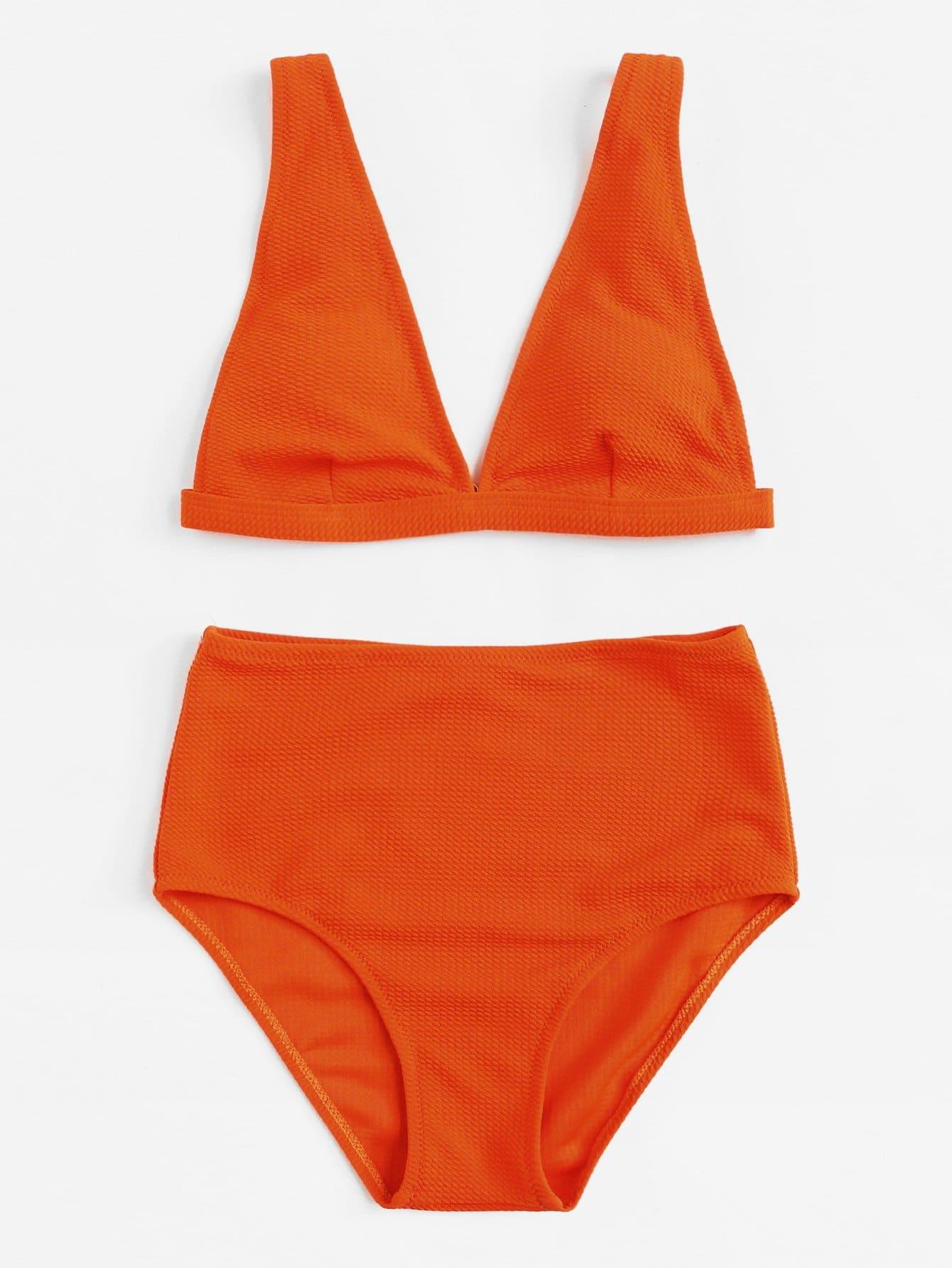 V-Plunge Plain Bikini Set v plunge halter bikini set