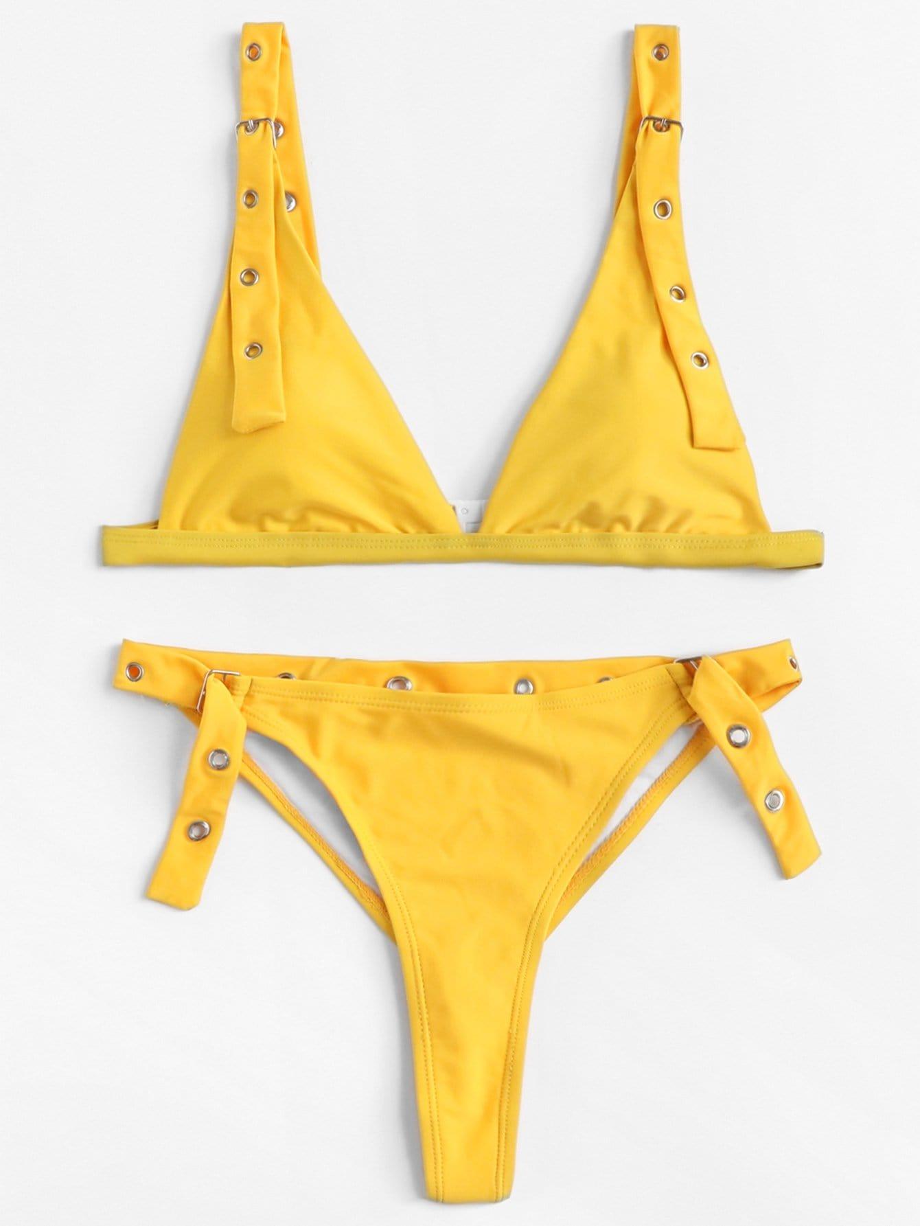 Eyelet Buckle Bikini Set eyelet insert botanical print bikini set