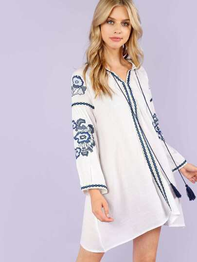 Embroidered Loose Fit Dress