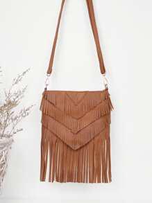 Layered Fringe Shoulder Bag