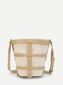 PU Panel Canvas Shoulder Bag