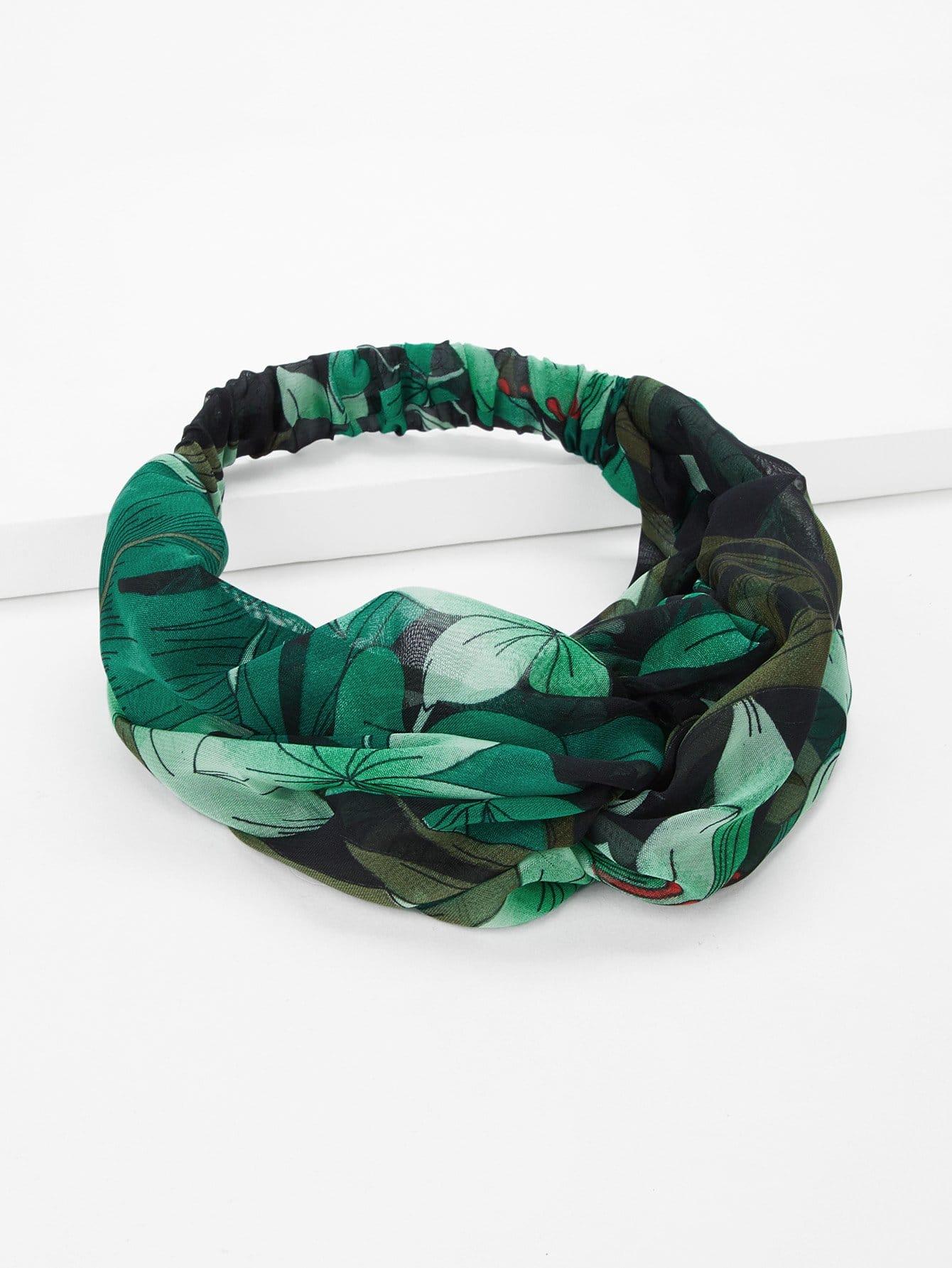 Leaf Print Twist Headband