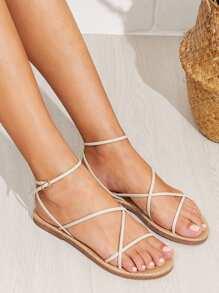 Skinny Strap Flat Sandals