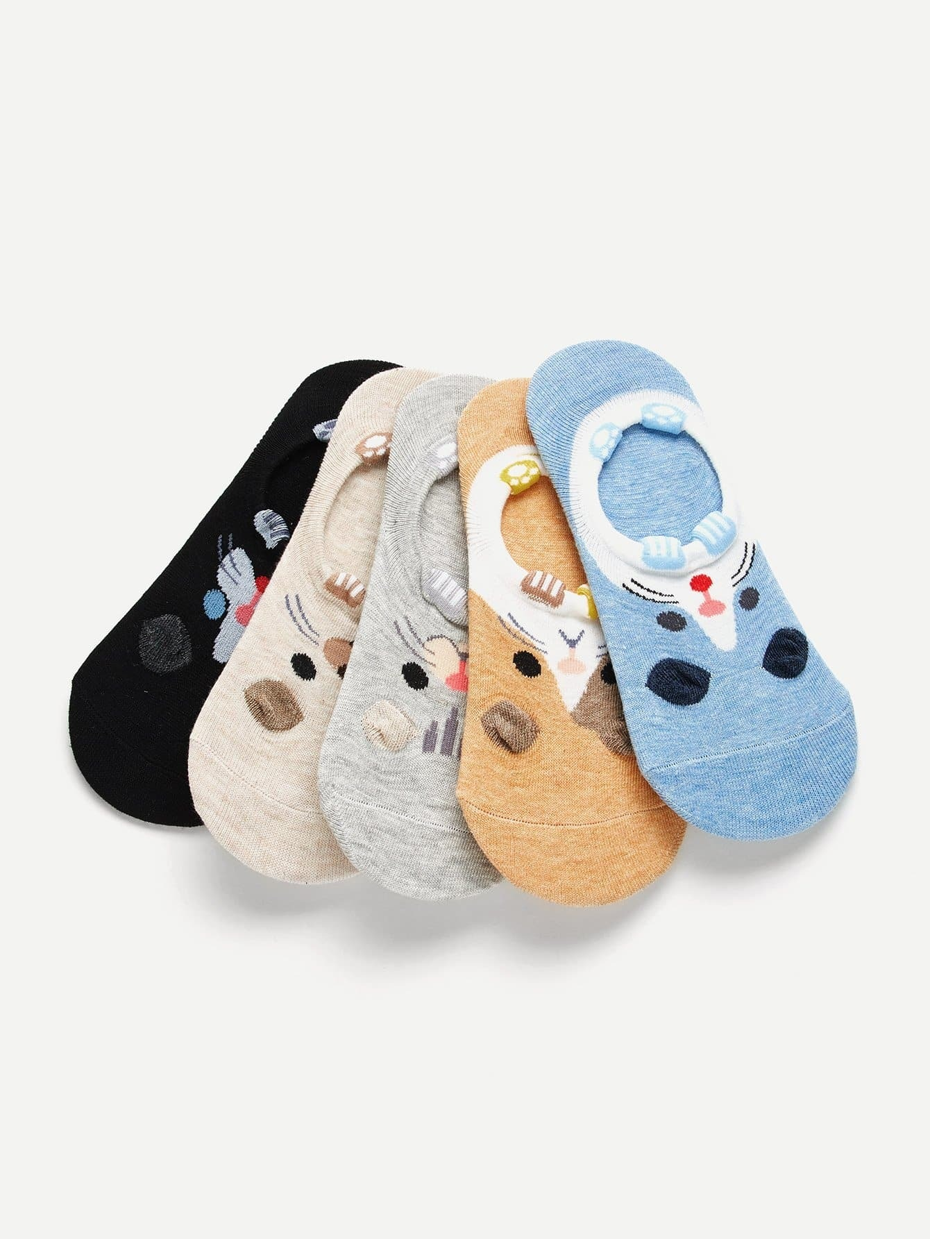 Animal Pattern Invisible Socks 5pairs animal embroidery invisible socks 3pairs