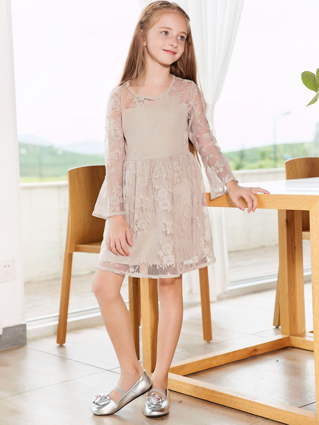 Girls Lace Overlay Flounce Sleeve Dress lace overlay fit and flare dress
