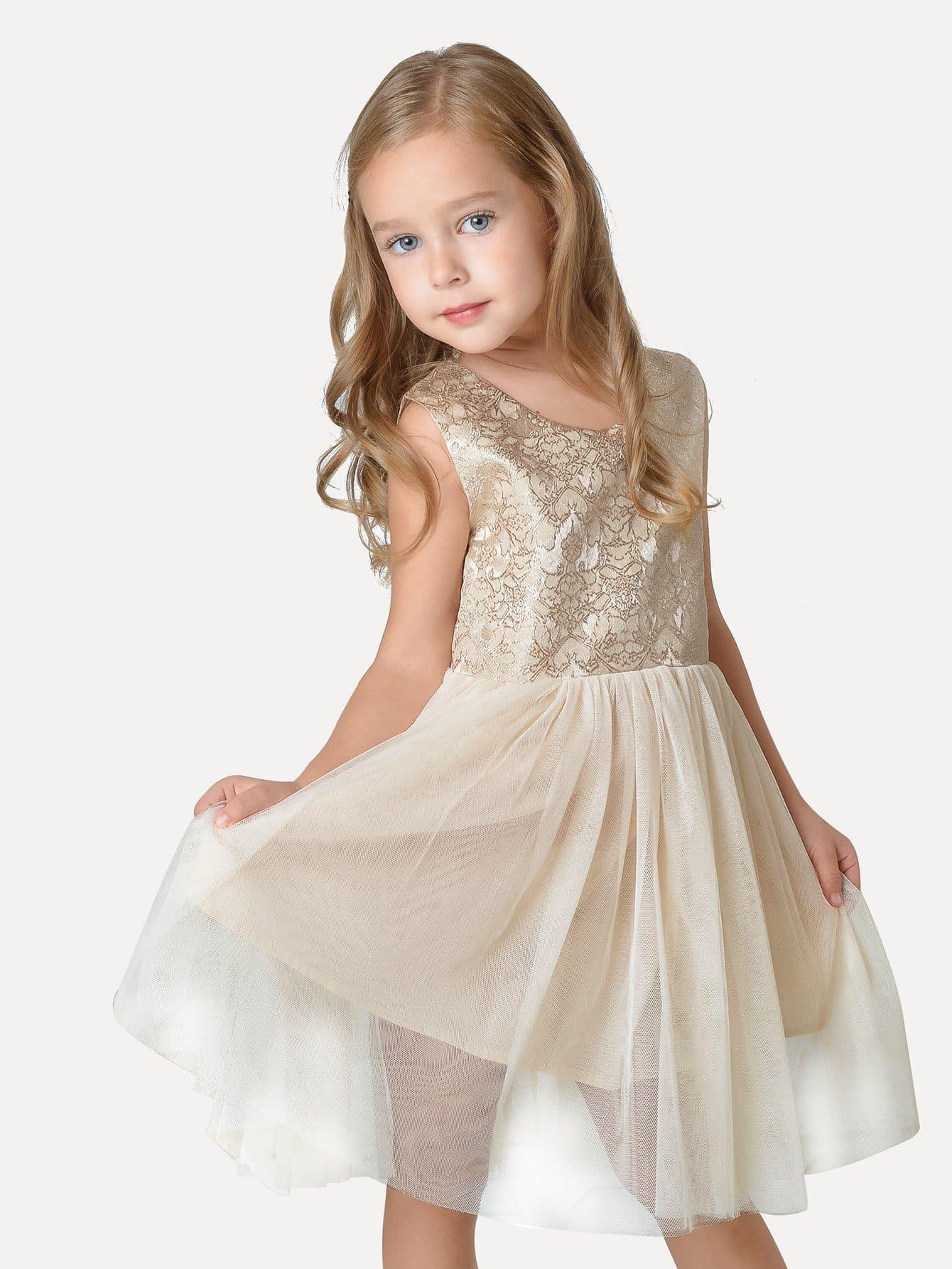 Girls Jacquard Mesh Overlay Sleeveless Dress white sleeveless mesh and lace overlay details playsuit