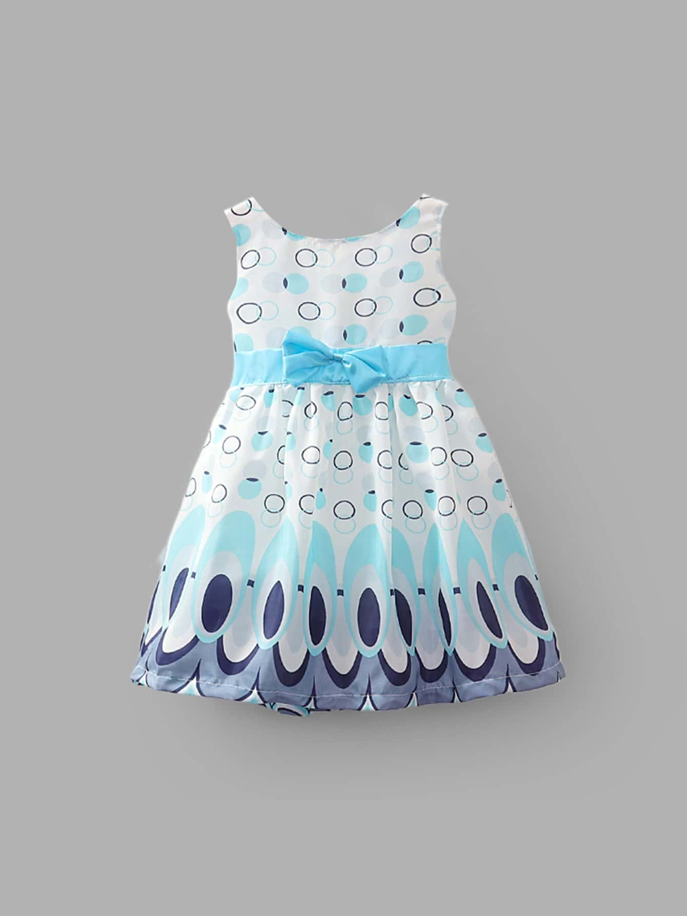 Girls Peacock Feather Print Bow Dress 2017 new brand baby girls summer dress kids white bow dress for girls children navy leisure fashion girls clothes