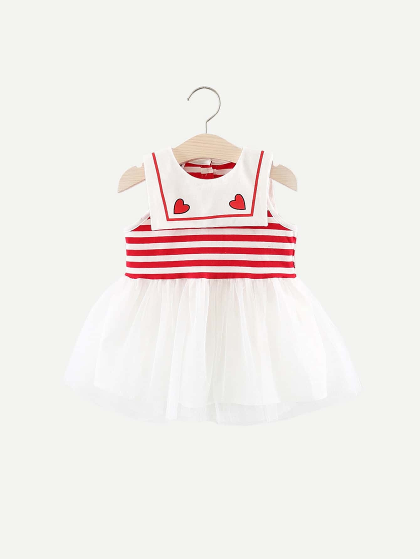 Girls Striped Mesh Overlay Sleeveless Dress white sleeveless mesh and lace overlay details playsuit
