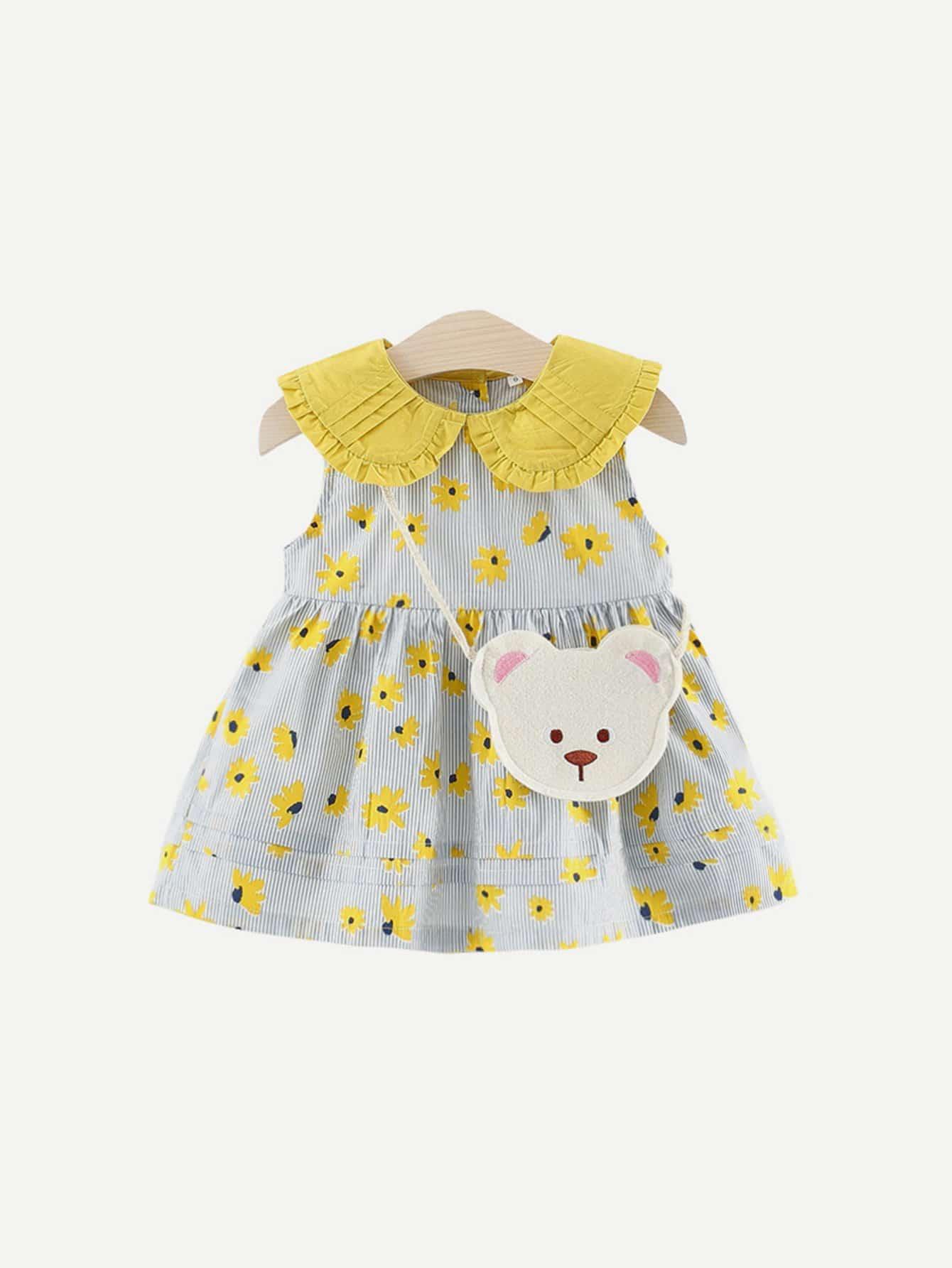 Купить Полосатое платье с ситцевыми оборками для девочки, null, SheIn