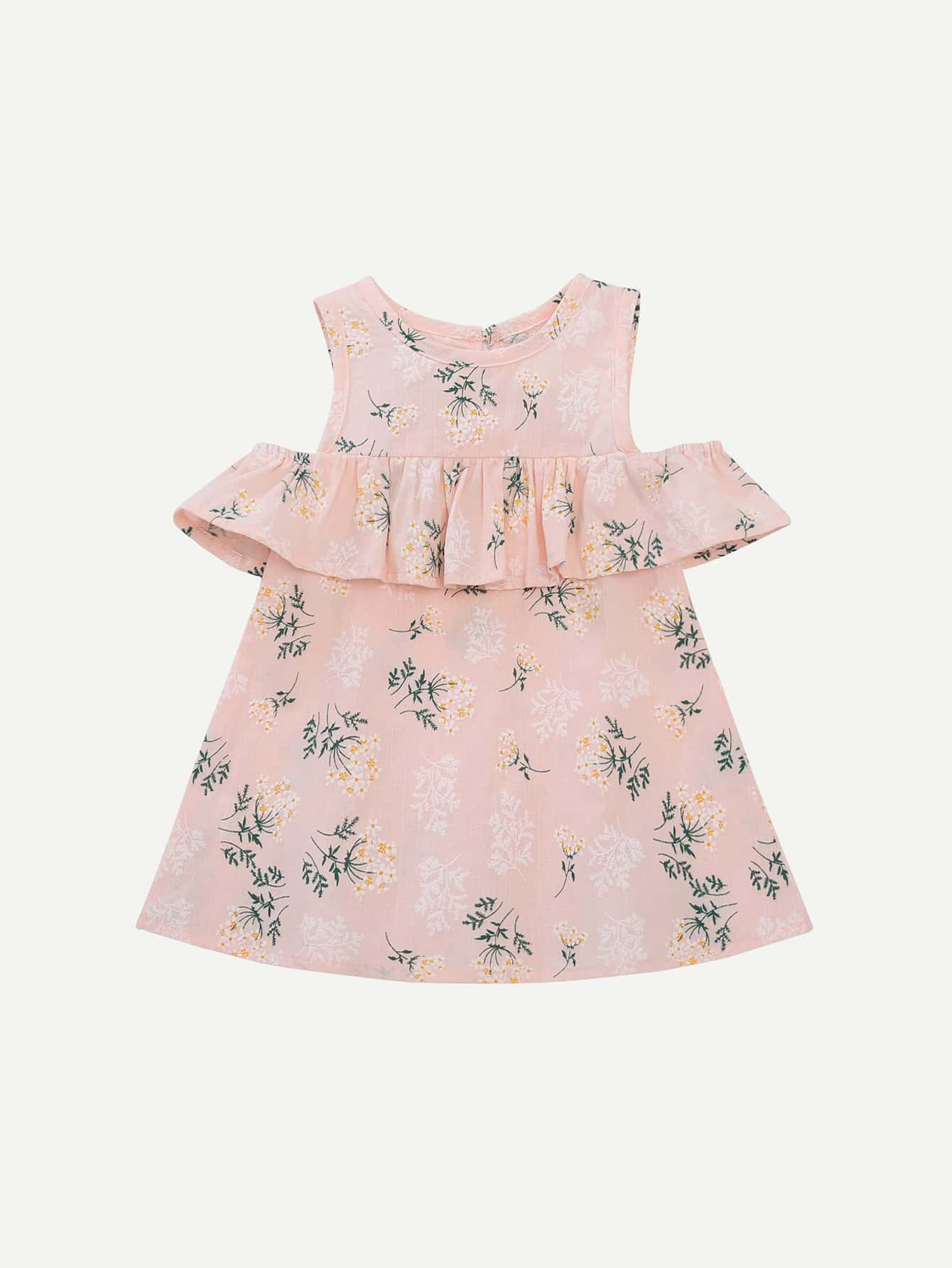 цена на Girls Ruffle Trim Floral Print Dress