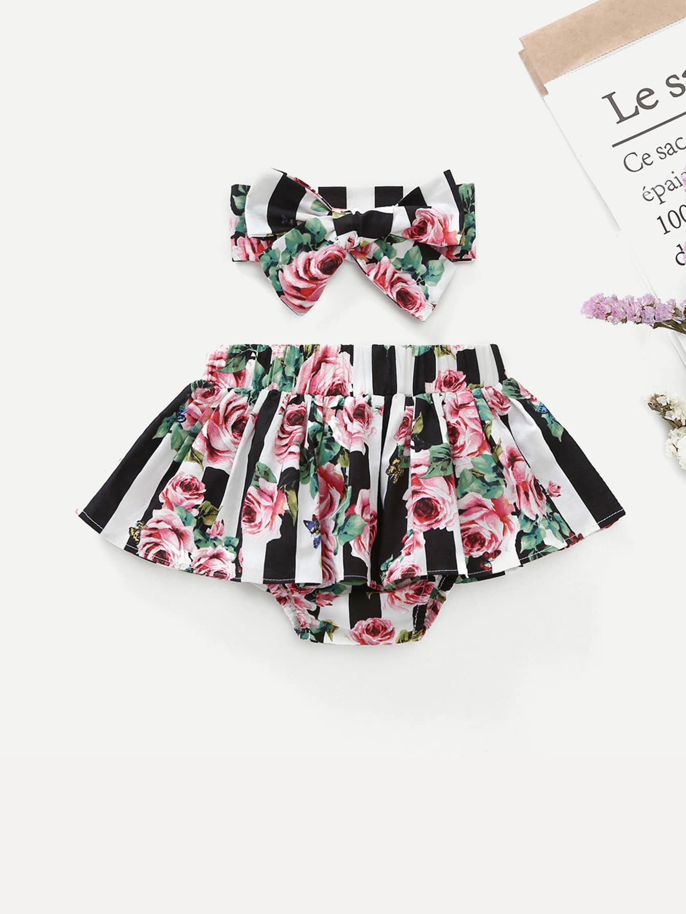 Girls Floral Print Allover Skirt With Headband