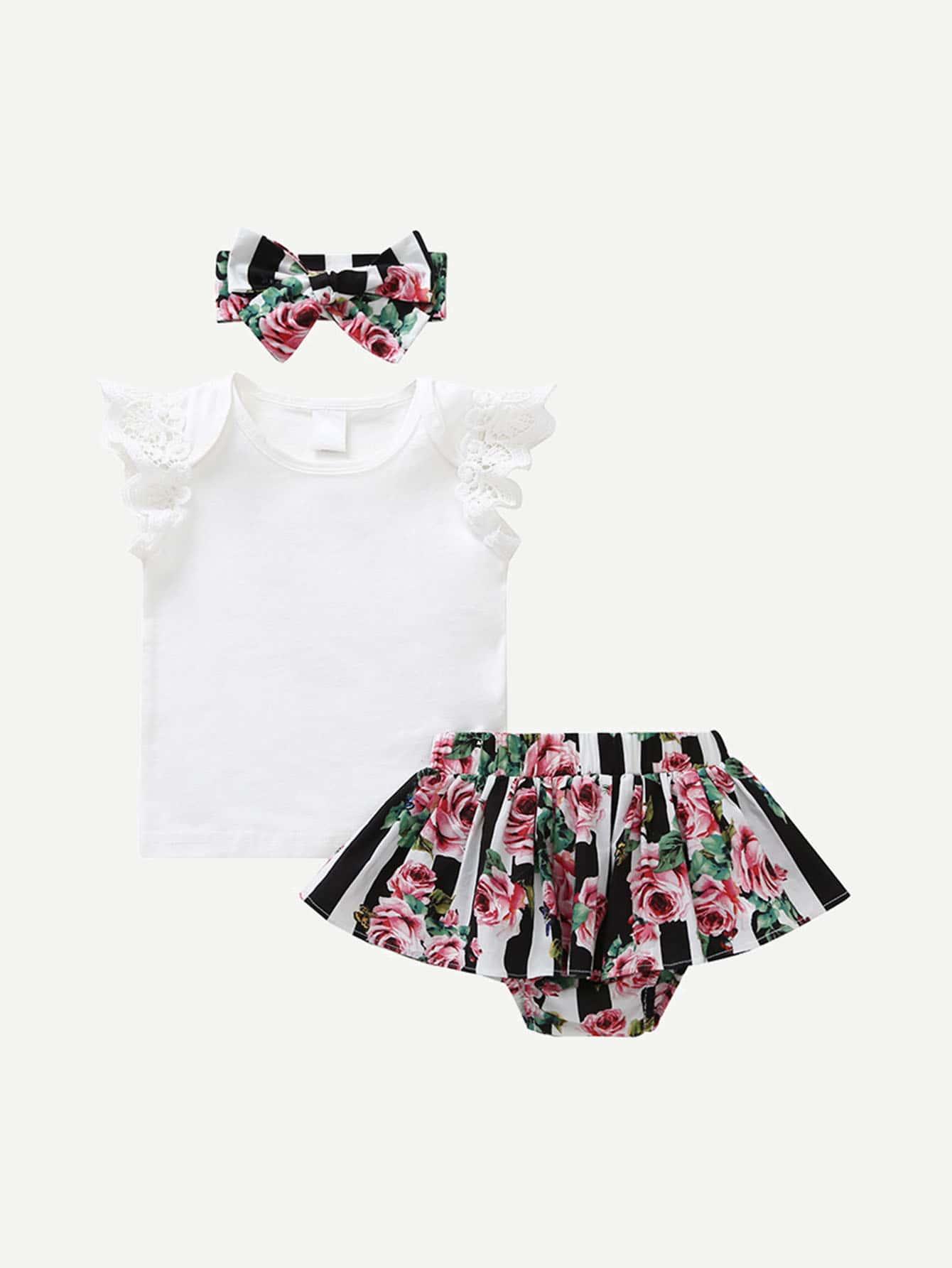 Купить Блузка со симметрическими кружевами и ситцевая юбка и бандана для девочки, null, SheIn