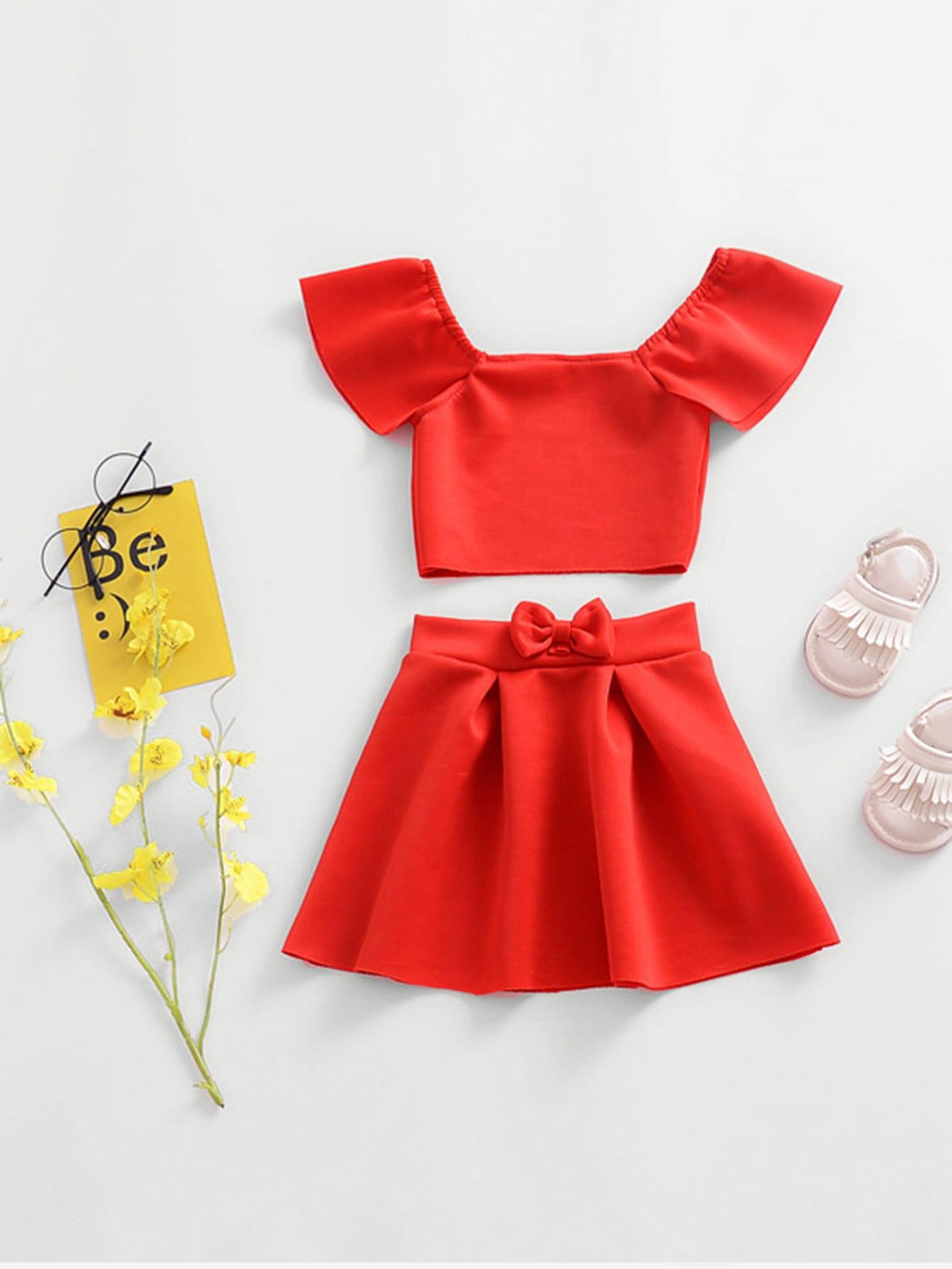 Купить Блузка на бретелях и юбка для девочки, null, SheIn