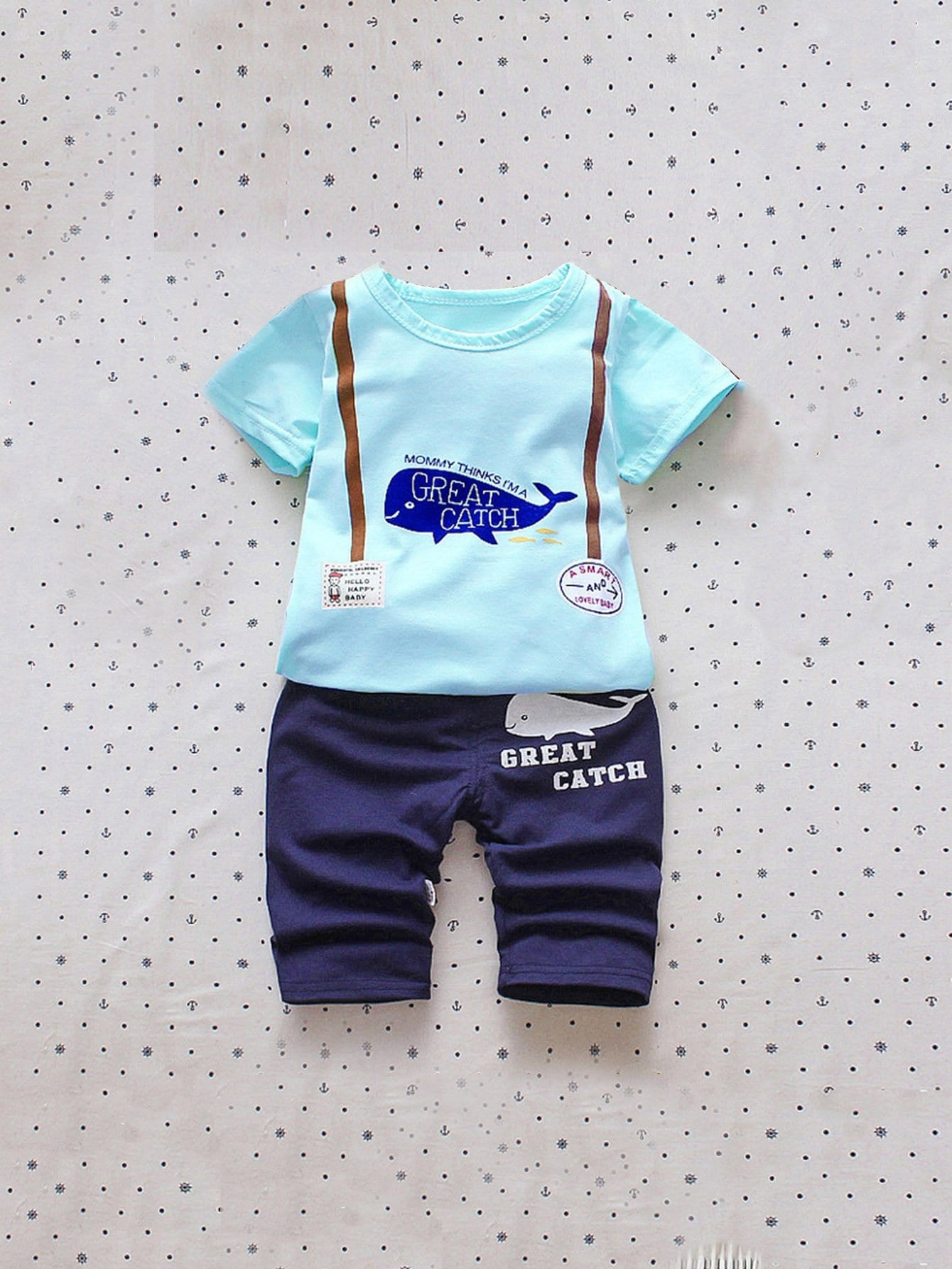 Girls Letter And Cartoon Print Top & Pants