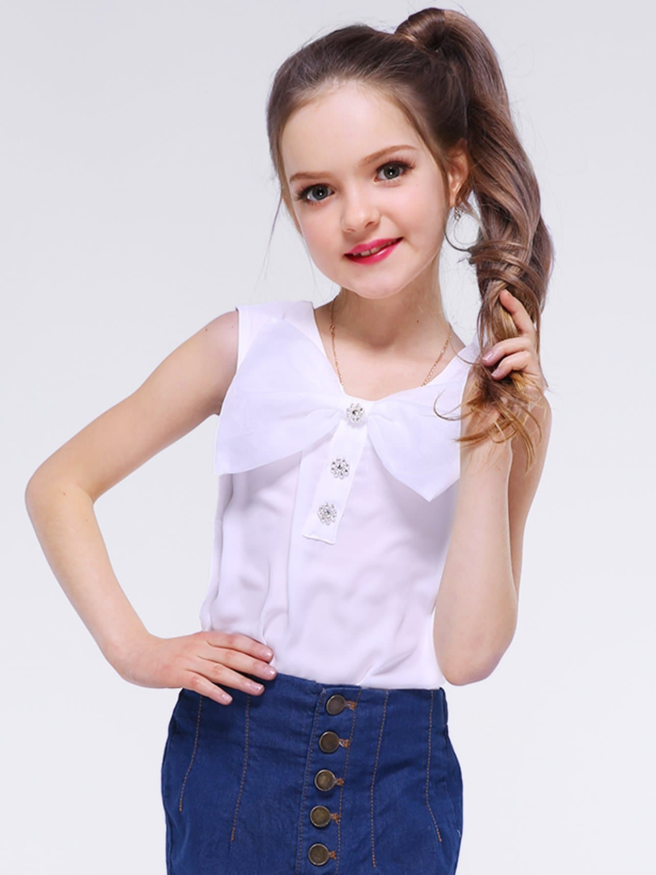 Girls Bow Front Button Detail Blouse button front striped blouse