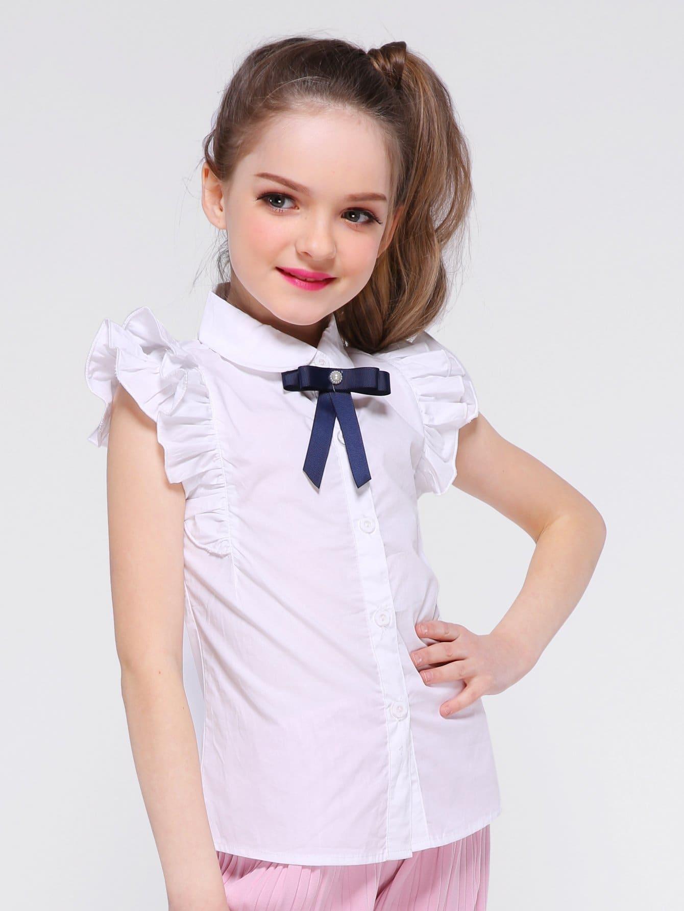 Girls Frill Trim Bow Detail Blouse girls embroidery detail frill trim blouse