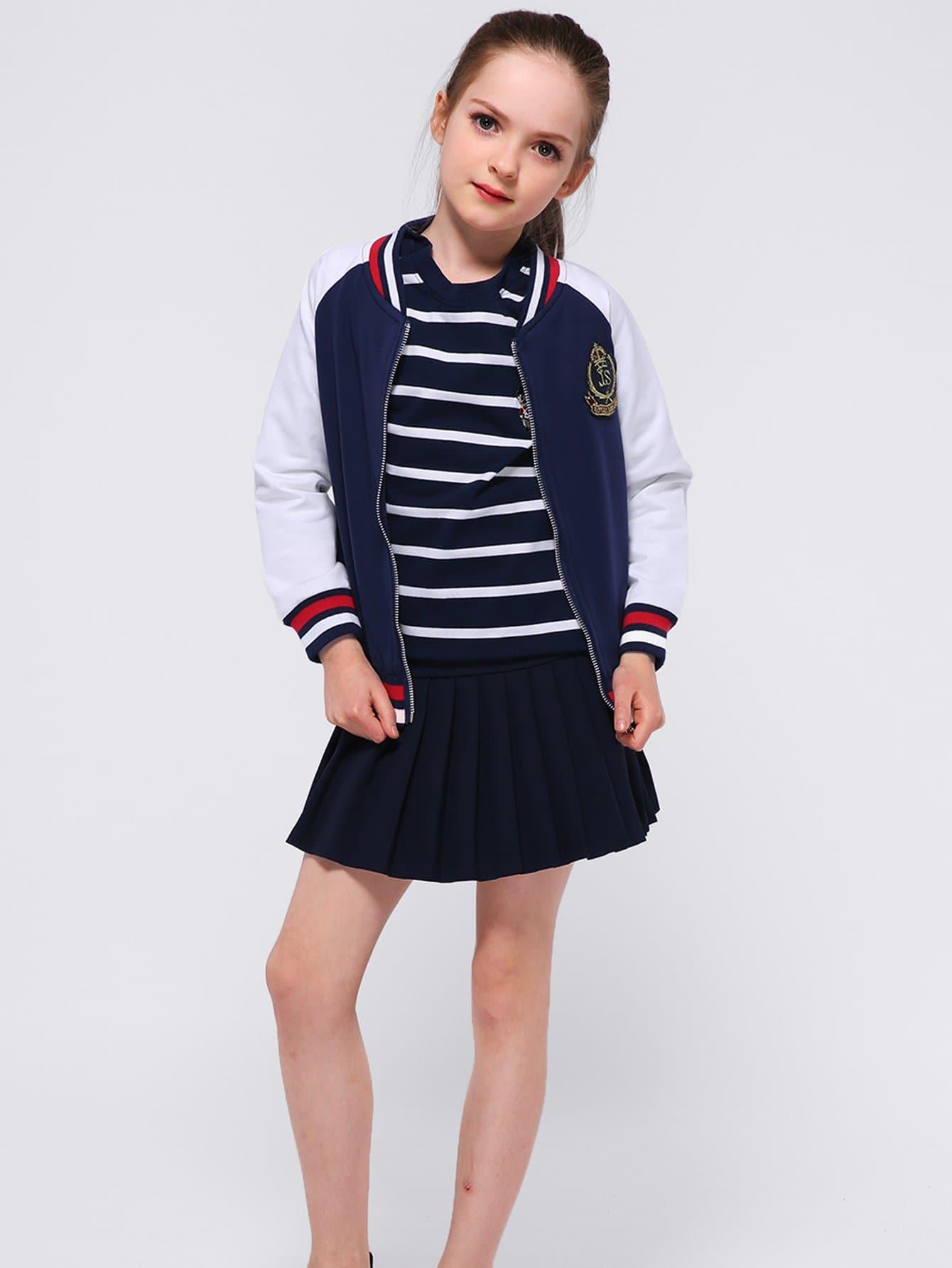 Girls Contrast Striped Trim Jacket With Skirt striped trim fluffy panel bomber jacket
