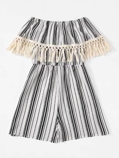 Romwe / Fringe Trim Off Shoulder Striped Romper