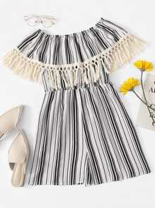 Fringe Trim Off Shoulder Striped Romper