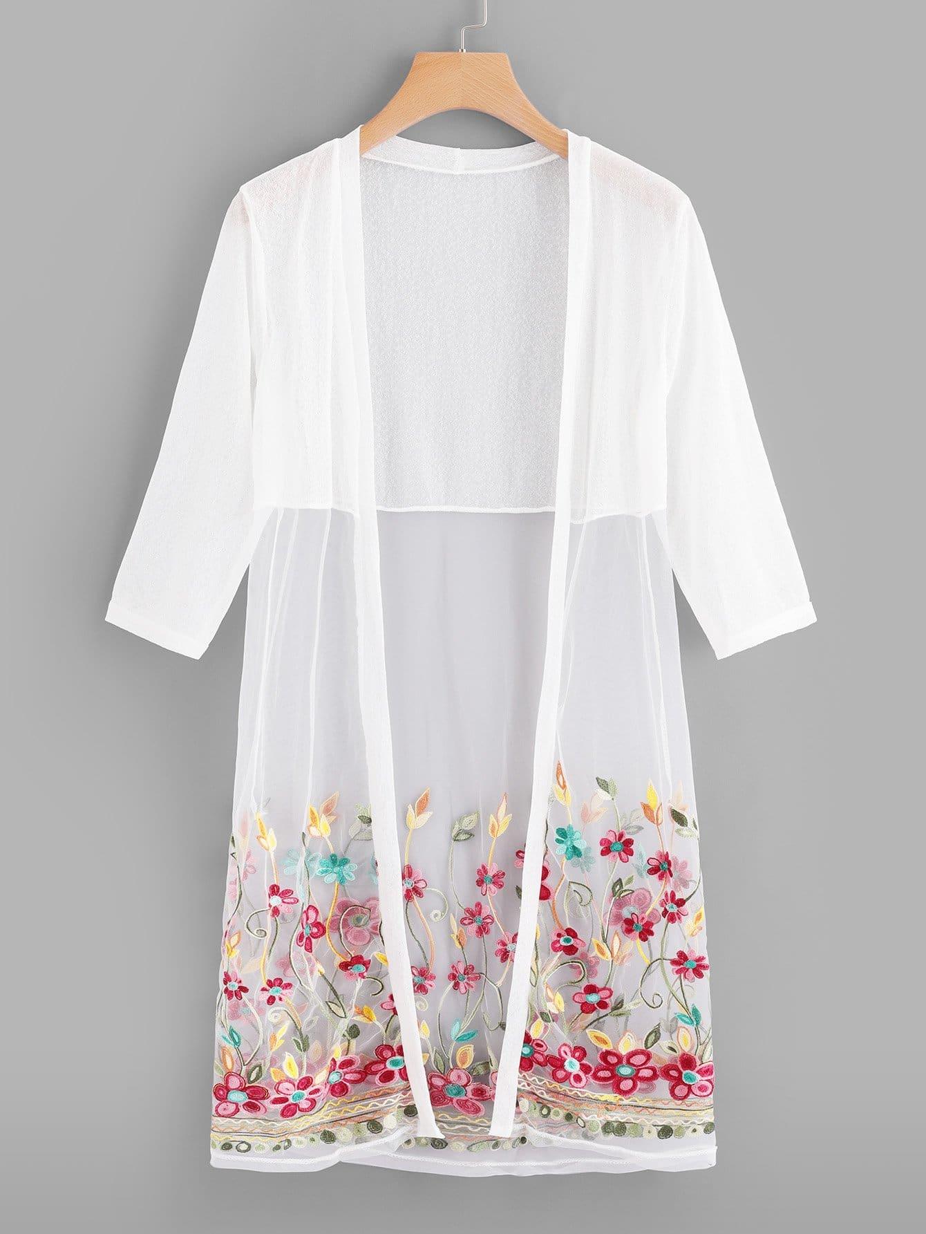 Mesh Panel Embroidery Kimono
