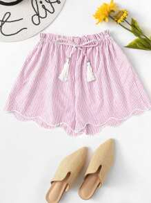 Striped Drawstring Waist Wave Edge Shorts
